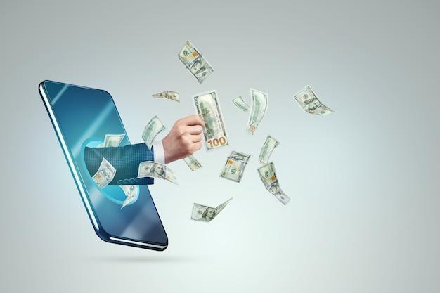 A mão de um smartphone transfere dinheiro e dólares voam