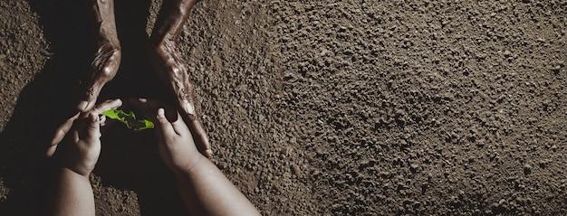 A mão de um velho e a mão de uma criança plantam uma árvore e protegem-na. conceito de csr de negócios, conceito de geração de mudança