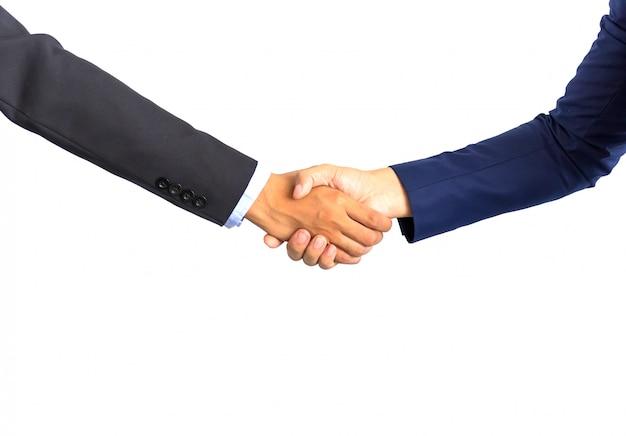 A mão de uma pessoa de negócios, apertando as mãos. o conceito de acordo e aceitação.