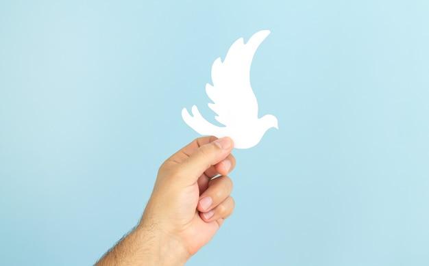 A mão do homem segurando o pássaro de papel branco em fundo azul