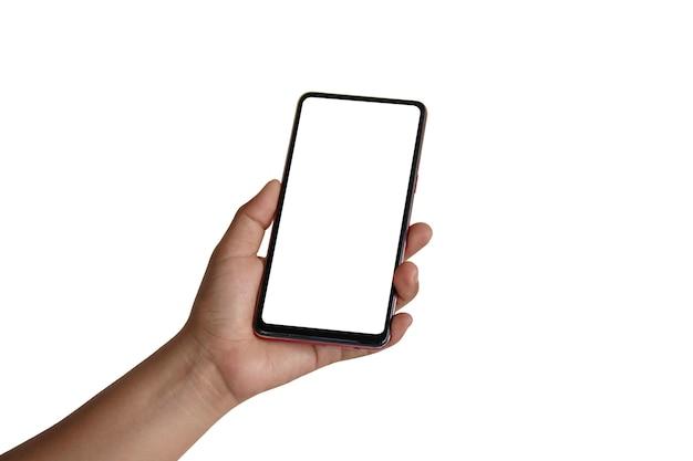 A mão está segurando a tela branca, o telefone celular está isolado em um fundo branco com o traçado de recorte.