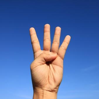 A mão o sinal closeup não-verbal mão do sinal