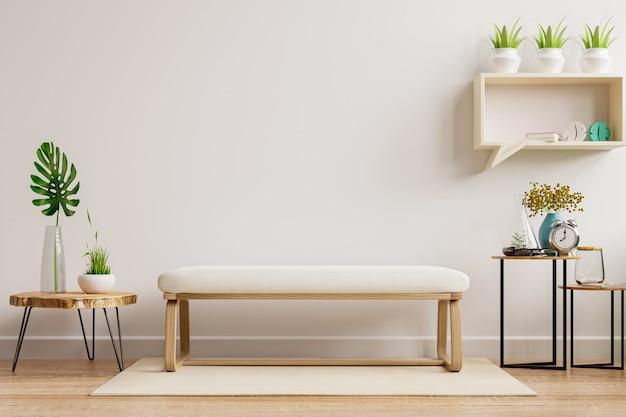 A maquete interna da parede da sala de estar tem cadeira muji e decoração.