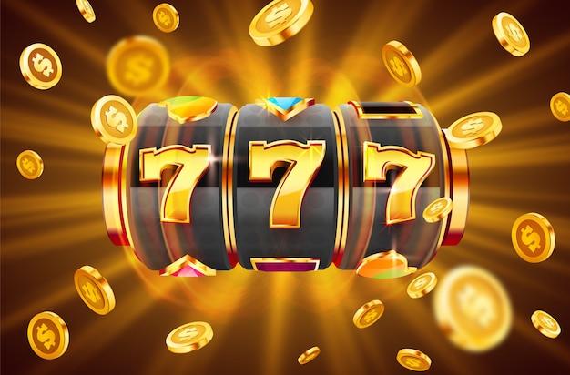 A máquina caça-níqueis dourada ganha o jackpot conceito de grande vitória jackpot de cassino