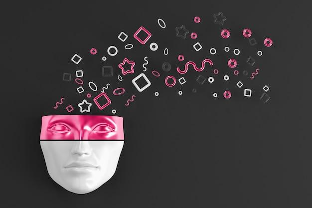 A máscara da cabeça de uma mulher na parede com formas geométricas explodindo voando em diferentes direções. ilustração 3d