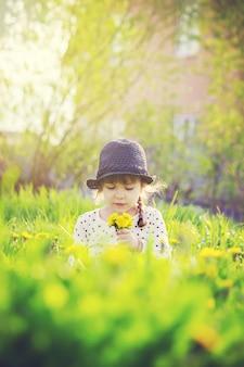 A menina, criança, floresce dentes-de-leão na primavera joga. foco seletivo.