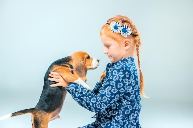 A menina feliz e um cachorro beagle na parede cinza