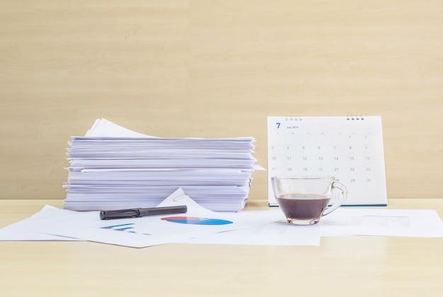 A mesa com papel de trabalho e café