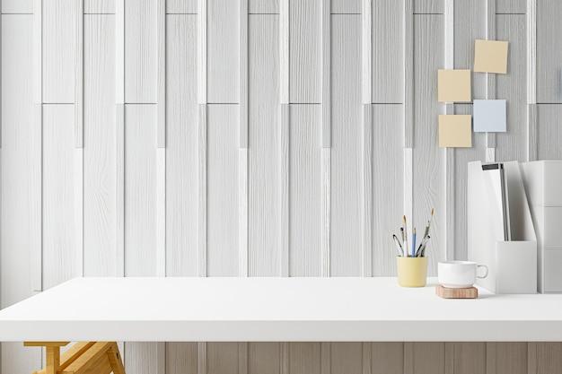 A mesa do escritório em casa do espaço de trabalho fornece no local de trabalho do escritório. renderização 3d.