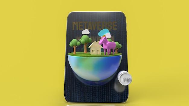 A mesa e a terra para o metaverso para a tecnologia ou renderização 3d do conceito de vr