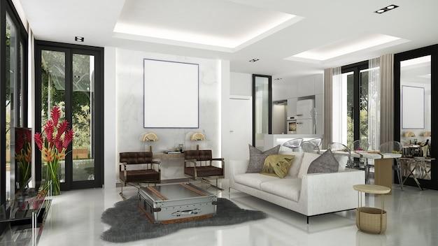 A moderna e acolhedora sala de estar e sala de jantar design de interiores e parede padrão
