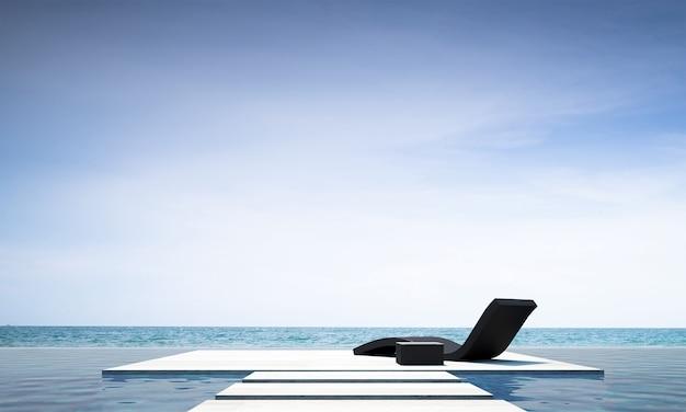 A moderna sala de estar ao ar livre e decoração com móveis de sofá-cama e vista para o mar.