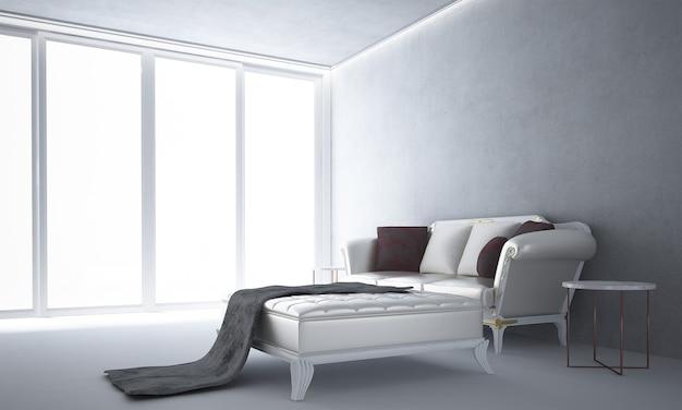 A moderna sala de estar branca e uma simulação de decoração de móveis e fundo de parede de concreto