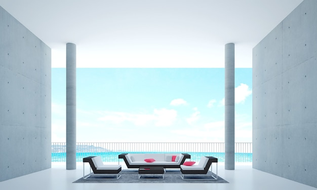 A moderna sala de estar com decoração mock up de móveis e vista para o mar.