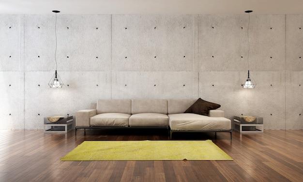 A moderna sala de estar do loft e a simulação de decoração de móveis e o fundo vazio da parede de concreto