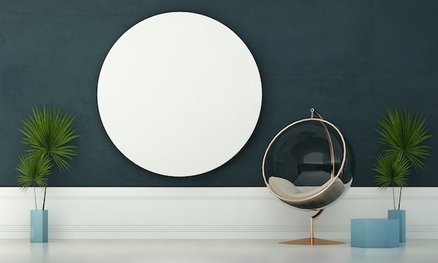 A moderna sala de estar e simulação de decoração de móveis e fundo de parede azul vazio
