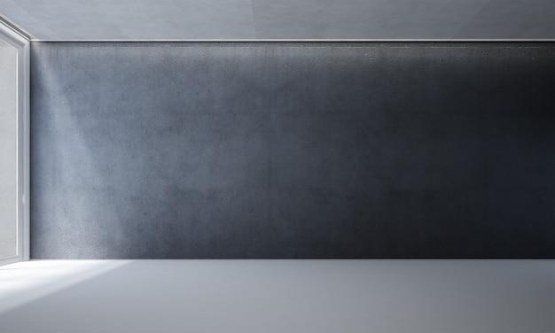 A moderna sala de estar e simulação de decoração de móveis e fundo de parede preto vazio