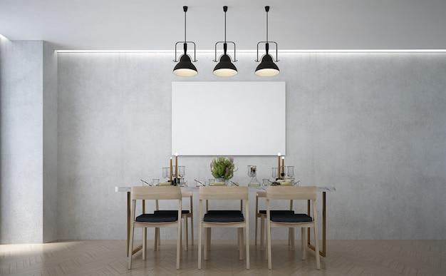 A moderna sala de jantar e simulação de decoração de móveis e fundo de parede vazio
