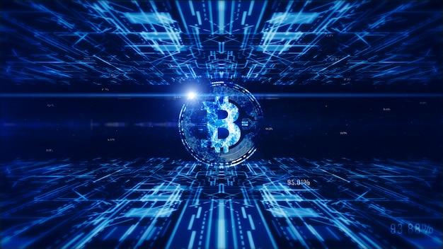 A moeda de bitcoin assina dentro o cyberspace, o negócio e o conceito digitais da tecnologia.