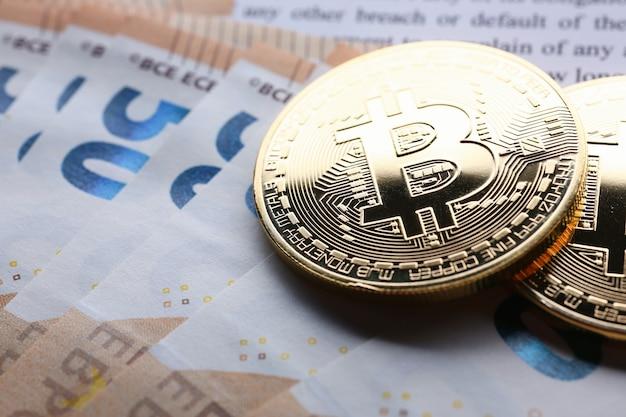 A moeda do bitcoin de moeda criptografada