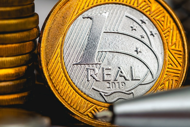 A moeda do brasil na macro fotografia