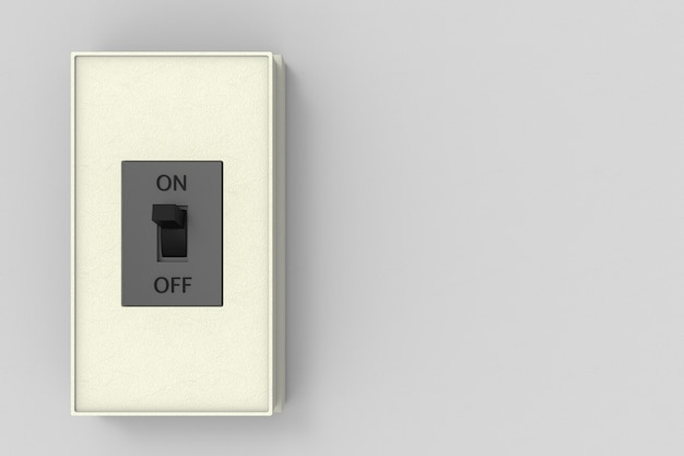 A moeda elétrica cortou a caixa de interruptor no fundo cinzento da parede do espaço da cópia.