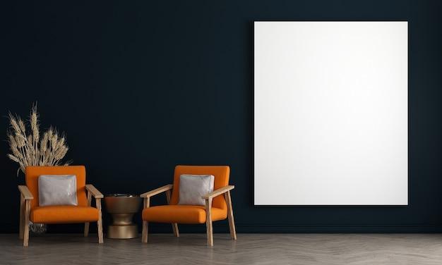 A moldura de lona e o design de móveis em um interior moderno, sala de estar, estilo escandinavo, renderização 3d,
