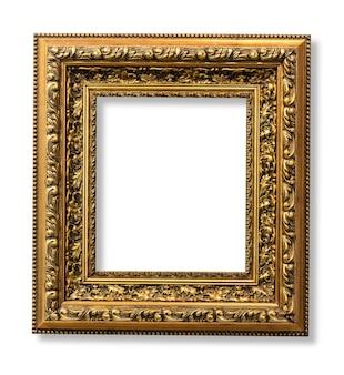 A moldura dourada antiga no branco