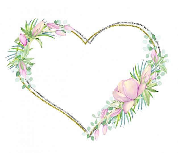 A moldura é dourada e prateada em forma de coração. decorado com flores em aquarela magnólia.