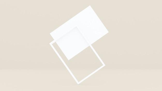 A moldura retangular branca é inclinada sobre um fundo creme.