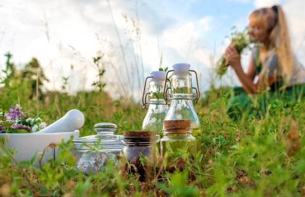 A mulher coleta ervas medicinais. foco seletivo. natureza.