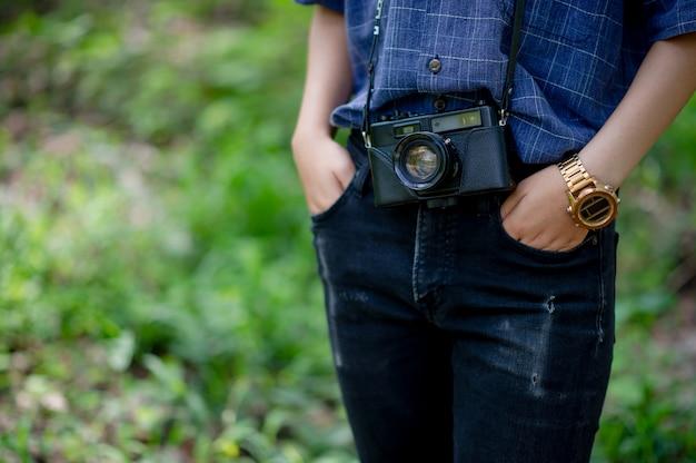 A mulher e sua amada câmera