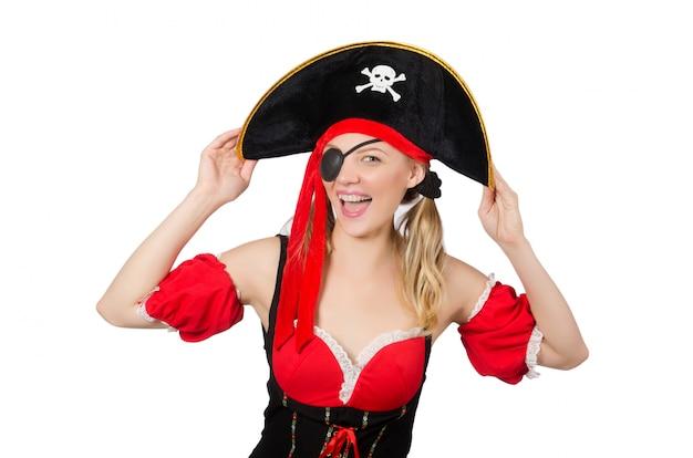 A mulher em traje de pirata - conceito de halloween
