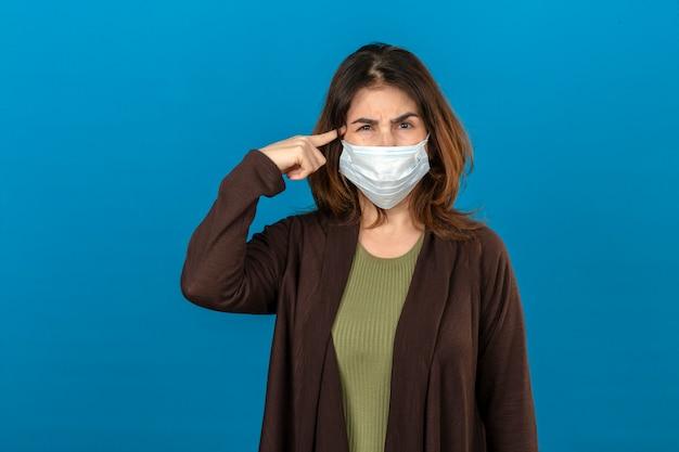 A mulher que veste o casaco de lã marrom na máscara protetora médica que aponta o templo com o pensamento do dedo focalizou em uma tarefa com a cara carrancuda sobre a parede azul isolada