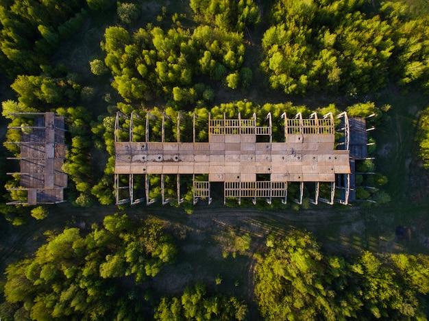 A natureza abomina o vácuo. em uma antiga planta abandonada crescem árvores jovens