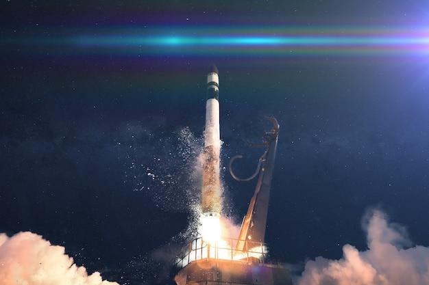 A nave espacial decola, lança, missão cósmica.