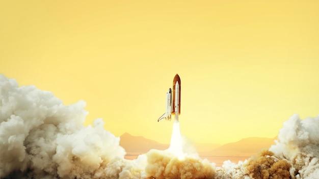 A nave espacial decola para o espaço no planeta marte