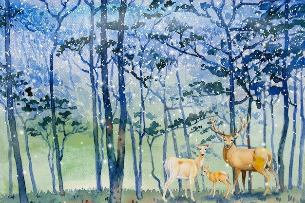 A neve das pinturas cai na floresta do inverno e na família dos cervos.