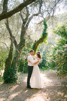 A noiva e o noivo estão abraçados entre árvores pitorescas cobertas de hera no parque