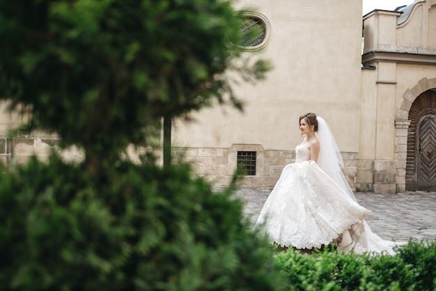A noiva incrível se alegra no dia do casamento
