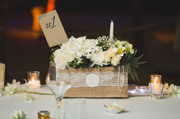 A numeração das mesas no casamento