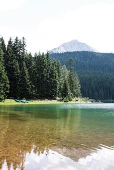 A paisagem do lago negro em montenegro