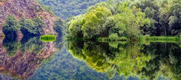 A paisagem verde panorâmica refletida na água do lado formou uma imagem simétrica. asturias. espanha.