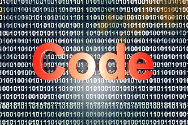 A palavra código na frente de um binário.