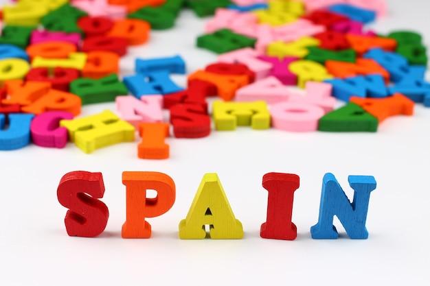 A palavra espanha com letras coloridas