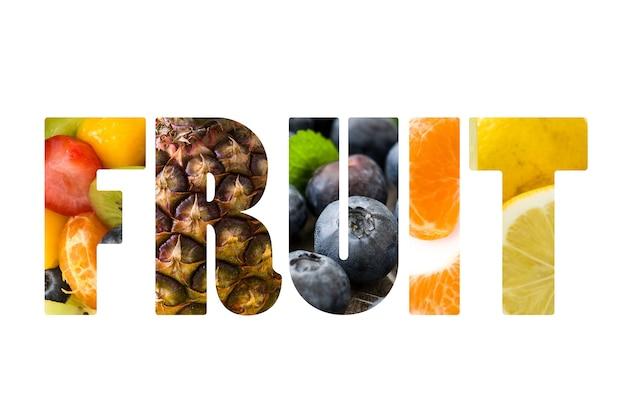 A palavra fruta composta com diferentes tipos de fotos de frutas dentro, sobre fundo branco