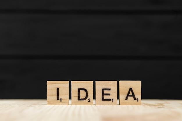 A palavra ideia soletrada com letras de madeira