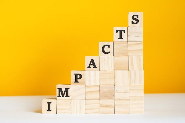 A palavra impactos está escrita em cubos de madeira. blocos em um fundo amarelo brilhante. conceito de hierarquia corporativa e marketing multinível. foco seletivo.