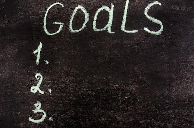 A palavra metas está escrita em meia em um quadro negro