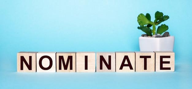 A palavra nominate é escrita em cubos de madeira perto de uma flor em um vaso